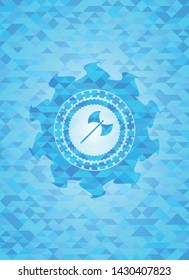 medieval axe icon inside light blue emblem. Mosaic background