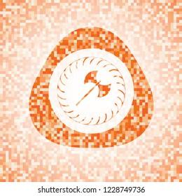 medieval axe icon inside orange mosaic emblem with background