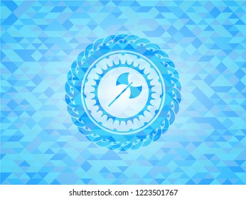 medieval axe icon inside realistic sky blue mosaic emblem