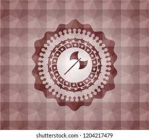 medieval axe icon inside red seamless emblem or badge with abstract geometric polygonal pattern background.