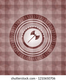 medieval axe icon inside red emblem with geometric pattern. Seamless.