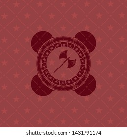 medieval axe icon inside red emblem. Retro