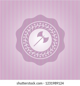 medieval axe icon inside retro style pink emblem