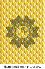medieval axe icon inside shiny golden badge. Scales pattern. Vector Illustration. Detailed.
