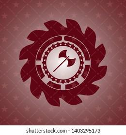 medieval axe icon inside vintage red emblem