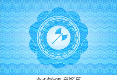 medieval axe icon inside water wave emblem.