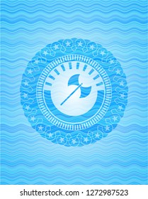 medieval axe icon inside water representation style emblem.