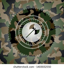 medieval axe icon on camouflage pattern