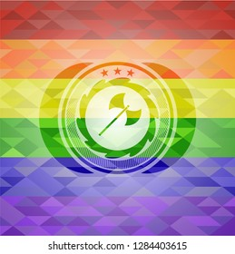 medieval axe icon on mosaic background with the colors of the LGBT flag