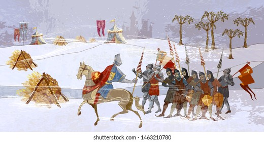 Medieval battle scene. Crusaders warriors and soldiers go to war. Holy Grail. Cold winter of the Middle Ages, parchment style. Historical crusades. Ancient book vector illustration