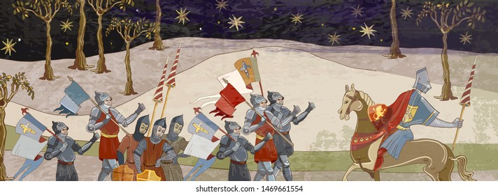 Medieval battle scene. Crusaders warriors and soldiers go to war. Holy Grail. Middle Ages, parchment style. Historical crusades. Ancient book vector illustration