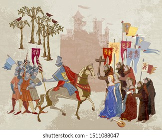 Medieval battle scene. Crusaders warriors and soldiers go to war. Historical crusades. Ancient book vector illustration Holy Grail. Middle Ages, parchment style