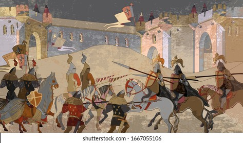 Medieval battle scene. Knights, cavalry, archers. Middle Ages, parchment concept. Historical miniature art. Siege of the castle. Ancient book vector illustration