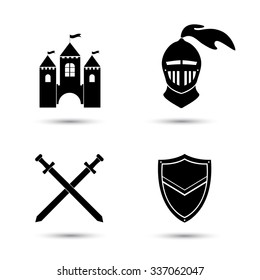 Medieval black icons set isolated  on white. Old castle. Knight shield and sword