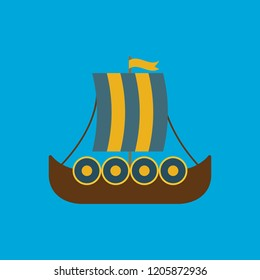 Medieval boat flat icon isolated on blue background. Simple viking boat sign symbol in flat style. Viking Vector illustration for web and mobile design.