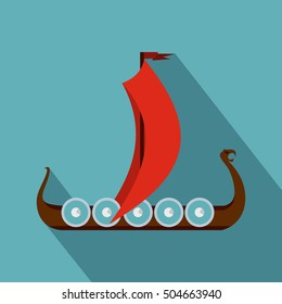 Medieval boat icon. Flat illustration of medieval boat icon for web