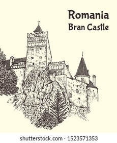 "Medieval Bran Castle in Transylvania, Romania, known as ""Dracula's Castle"".  Hand drawn vector illustration"