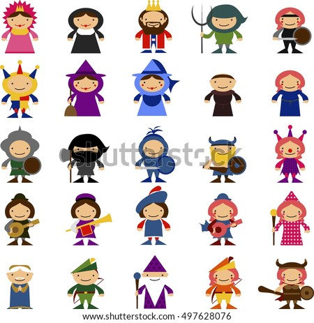 medieval cartoon character template stock vector royalty free