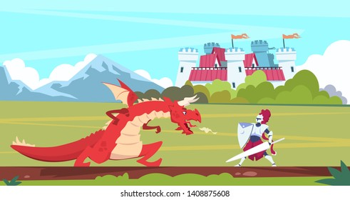 Medieval cartoon scene. Dragon and knight warrior fight, monster and prince fairy tale flat characters. Vector background landscape medieval palace tower
