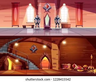 Medieval castle ballroom with knight guards near royal throne and ancient dungeon with treasures cartoon vector illustration. Fantasy game environment design elements. Fairytale palace interiors