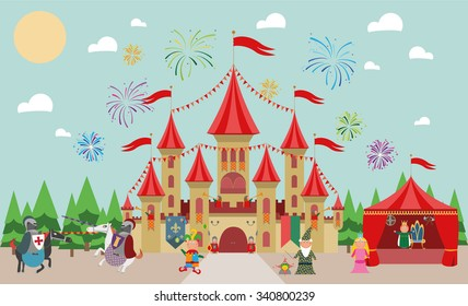 Medieval Castle with characters (king, princess, magician, knights and jester) and fireworks. Vector illustration.