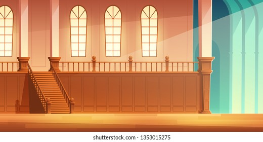 Medieval castle, church or cathedral spacious hall with wooden stairs on balcony with large windows and columns cartoon vector background. Ancient, gothic architecture building interior illustration