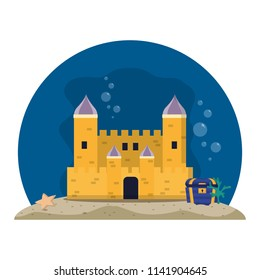 medieval castle with coffer under water