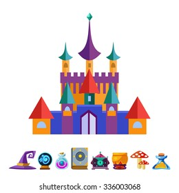Medieval Castle and Elements for Games. Vector Flat Illustrations