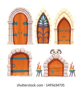 Medieval castle, fantasy citadel or fortress, scarifying, fairy dungeon or temple heavy, wooden doors with stone arch, forged metal hinges and ram skull cartoon vector set isolated on white background