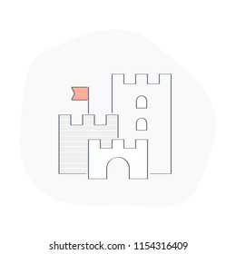 Medieval Castle fantasy, simple linear castle with towers, symbol of strengthening, protection, stronghold, stability and security. Flat line vector design