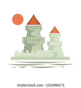 Medieval castle with flag ribbon on top, architecture of old times vector. Stronghold vintage building, epoch heritage of royalty, defending structure. European touristic attraction monument