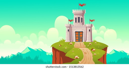 Medieval castle, fort on cliff. Stone citadel, fairytale fortress, kings stronghold with flags on defense towers and forged, wooden gates. Far bastion, outpost in mountains cartoon vector illustration
