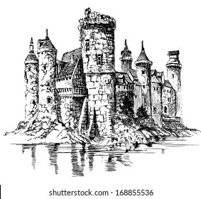 Medieval castle. Graphic drawing.