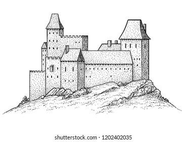 Medieval castle illustration, drawing, engraving, ink, line art, vector