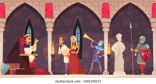 Medieval castle interior cartoon banner with king on throne lord lady knight guard horn blower vector illustration