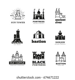 Medieval castle and knight fortress vector ancient royal logo set. Fairytale fortress logo, historical royal building citadel illustration