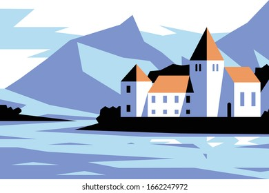 Medieval castle near lake vector illustration. Chateau with arched windows and turrets flat style concept. Fortress near mountains. Picturesque night landscape on background