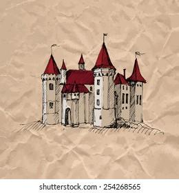 Medieval castle on crumpled kraft paper texture. Colorful sketch. Vector illustration.