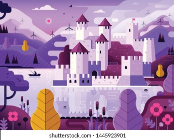 Medieval castle on hill reflected on lake. Fantasy landscape with stronghold on river bank by dawn with mist, windmills and mountains. Textured illustration inspired by Golubac fortress landmark.