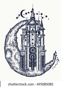 Medieval castle on the moon tattoo. Symbol of the fairy tale, dream, magic t-shirt design
