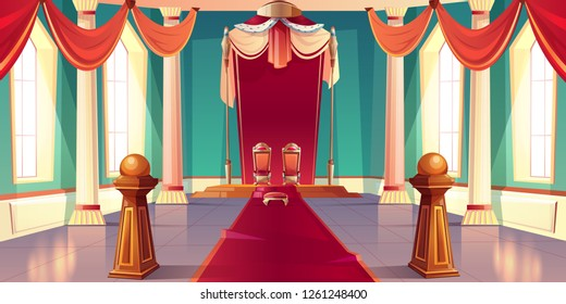 Medieval castle or royal palace spacious, sunny throne room or ballroom empty interior with king and queen golden thrones standing on pedestal under canopy with ermine fur cartoon vector illustration
