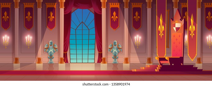 Medieval castle, royal palace spacious lit with burning candles, throne room or ballroom empty interior with king or queen golden thrones standing on pedestal, with knight armor on wall cartoon vector