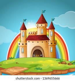 A medieval castle scene illustration