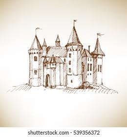 Medieval castle sketch. Vector illustration.