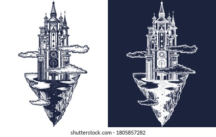 Medieval castle tattoo art. Ancient castle on the mountain. Symbol of the fairy tale, dream, magic. Medieval castle t-shirt design. Black and white vector graphics