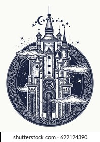 Medieval castle tattoo art. Symbol of the fairy tale, dream, magic. Medieval castle t-shirt design