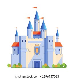 Medieval castle tower. Fairy tail, king fortress castle and fortified palace with gate. Cartoon vector  illustration isolated on white background