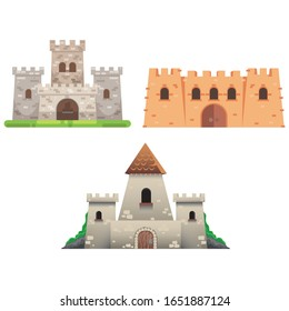 Medieval castle towers. Fairytail mansion exterior, king fortress castles and fortified palace with gate. Old ancient gothic tower fortress or fairy citadel cartoon vector isolated icons set