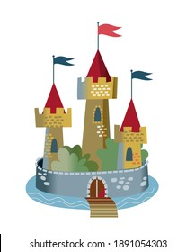 Medieval castle with towers. Middle Ages fantasy kingdom vector illustration. Royal palace with flags, surrounded by wall, gate and bridge over water isolated on white background.
