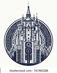 Medieval castle t-shirt design. Symbol of the fairy tale, dream, magic